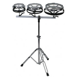 "Basix Roto-Tom - Set 3 Roto-tom 6"", 8"", 10"" - In alluminio - Comprensivo di stand"