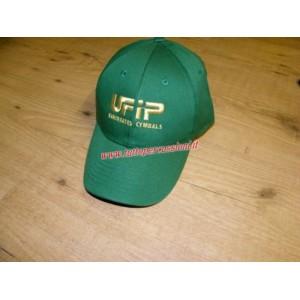 Ufip cappello verde con visiera con logo oro