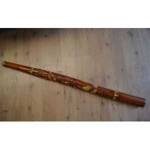 Didgeridoo Indonesiano in Teak - cm 130 - Intarsiato Decorato - Con Custodia in Stoffa